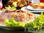 Пикантно свинско руло / роле / вретено пълнено с гъби, топено сирене и сушени кайсии печено на фурна
